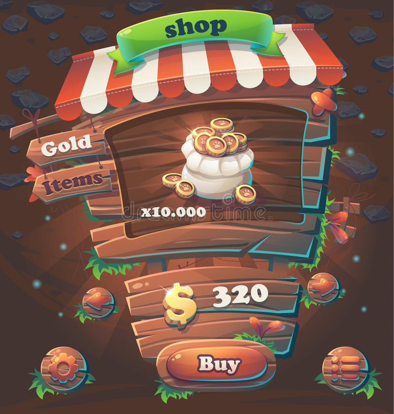 Drewnianego gemowego interfejsu użytkownika nadokienny sklep royalty ilustracja