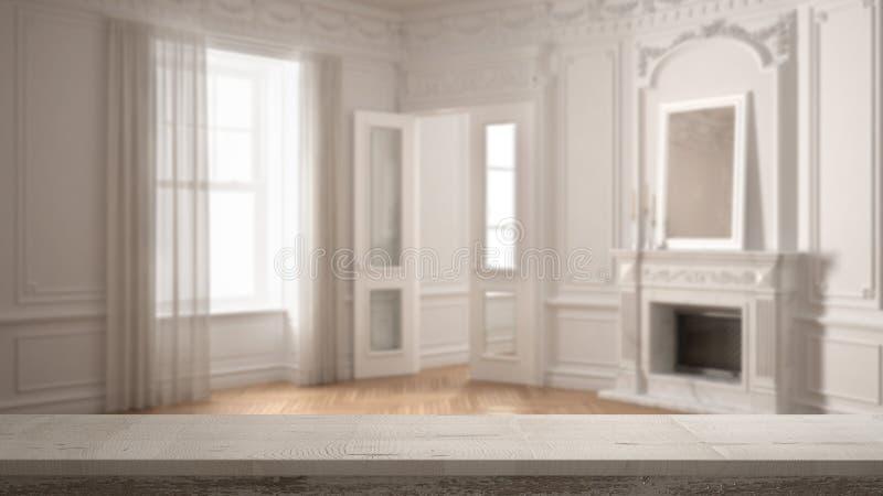 Drewnianego rocznika stołowy wierzchołek lub półki zbliżenie, zen nastrój nad zamazanego klasyka pustym pokojem z dużym okno z gr zdjęcia stock