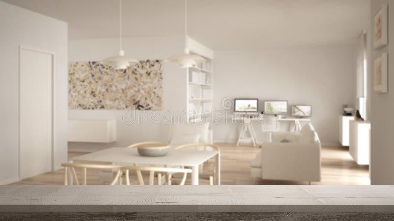 Drewnianego rocznika stołowy wierzchołek lub półki zbliżenie, zen nastrój nad zamazanym minimalistycznym białym żywym pokojem z d ilustracji