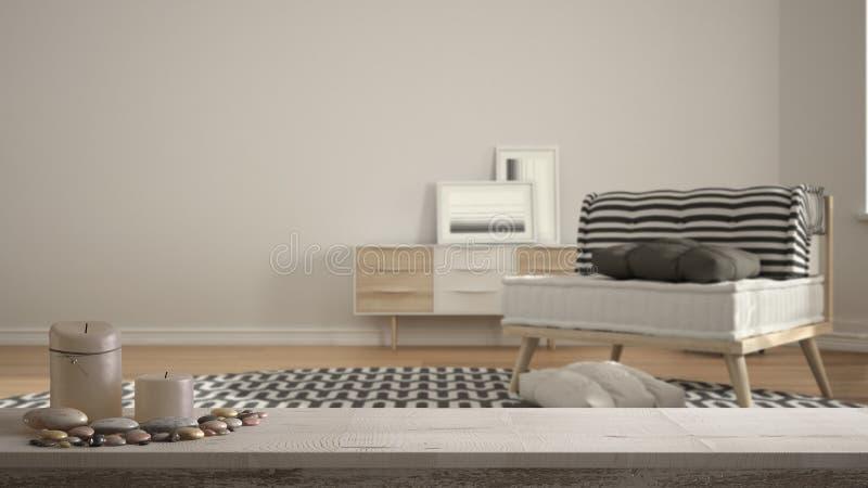 Drewnianego rocznika stołowy wierzchołek, półka z lub, zen nastrój nad scandinavian minimalistycznym żywym pokojem z dużym dywane royalty ilustracja