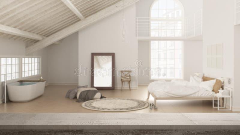 Drewnianego rocznika stołowy wierzchołek, półki zbliżenie lub zen nastrój nad scandinavian loft otwartą przestrzenią z sypialnią  ilustracja wektor