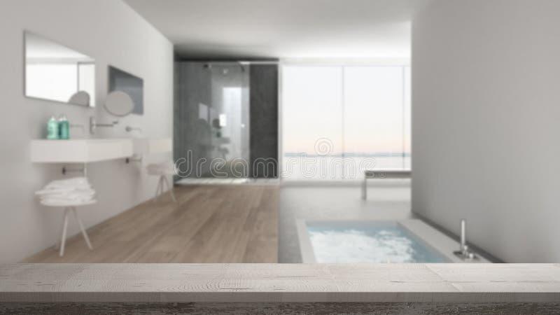 Drewnianego rocznika stołowy wierzchołek, półki zbliżenie lub zen nastrój nad zamazaną minimalistyczną białą łazienką z kąpielową obraz stock