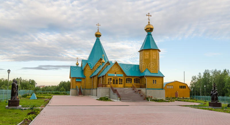 Drewnianego rosyjskiego kościół prawosławnego spowiedników i męczenników Nowy befo zdjęcie royalty free