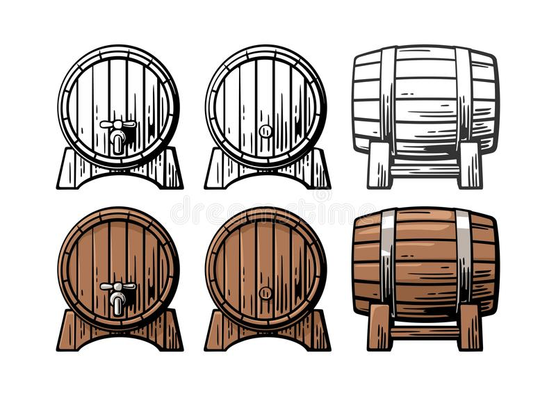 Drewnianej baryłki frontowego i bocznego widoku rytownictwa ilustracja ilustracja wektor