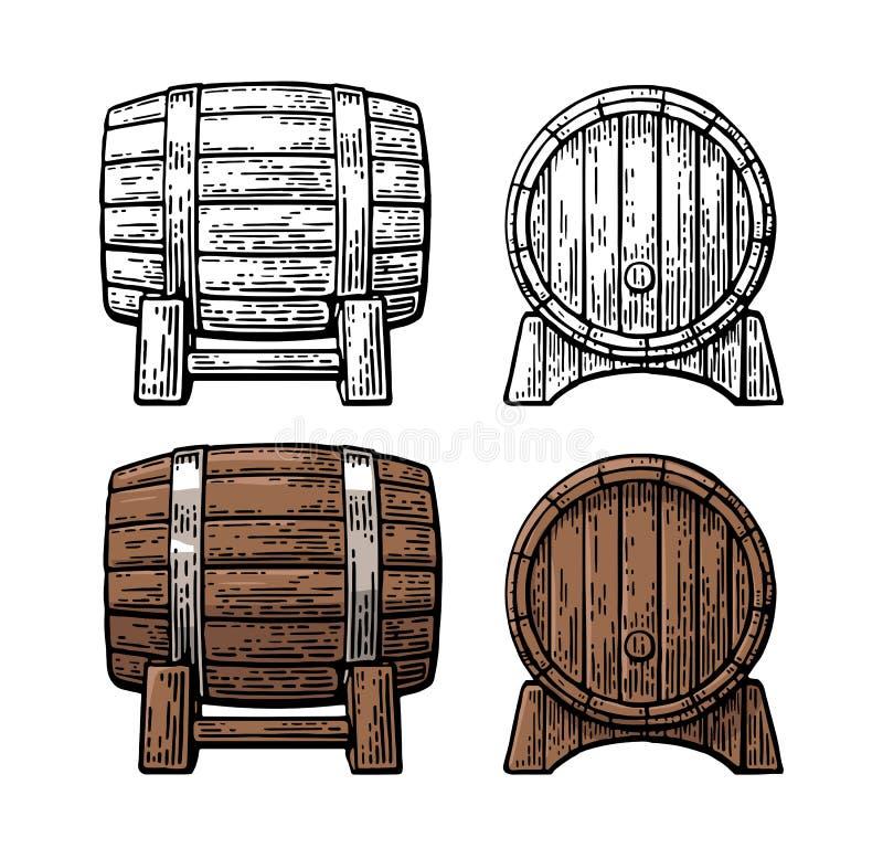 Drewnianej baryłki frontowego i bocznego widoku rytownictwa ilustracja ilustracji