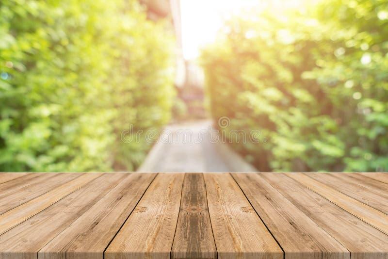 Drewnianej deski plamy puści stołowi drzewa w lasowym tle - mogą być używać egzaminem próbnym up dla pokazu lub montażu twój prod zdjęcia stock