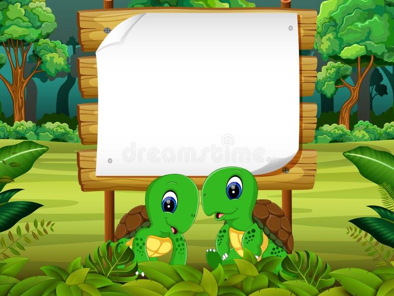 Drewnianej deski pusta przestrzeń z dwa par żółwiem z lasowym tłem royalty ilustracja