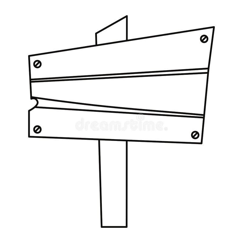 Drewnianej deski sygnał ilustracja wektor