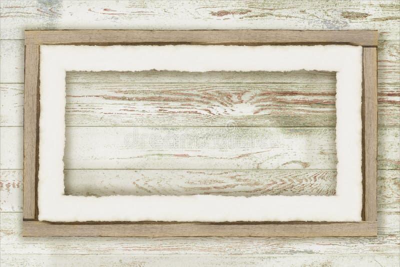 Drewnianej deski tło z śniegiem zdjęcia stock