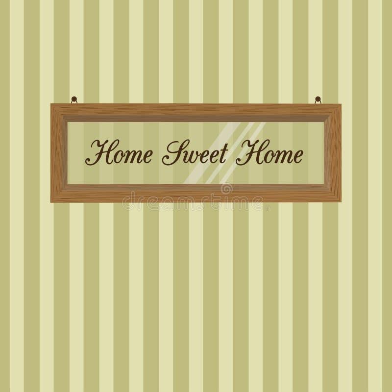 Drewnianej ramy obwieszenie na tle pasiasta tapeta home sweet ilustracji