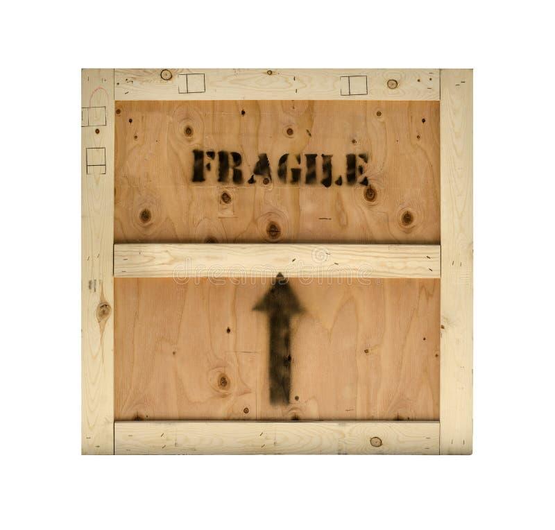 Drewnianej skrzynki kruchy znaczek obraz stock