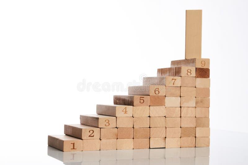 Drewniani bloki broguje jako kroka schodek obraz stock