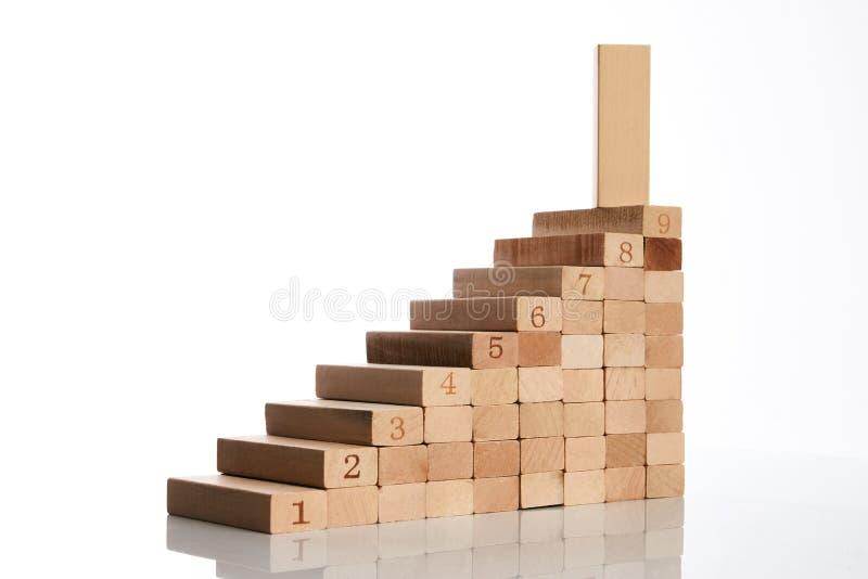 Drewniani bloki broguje jako kroka schodek zdjęcia royalty free