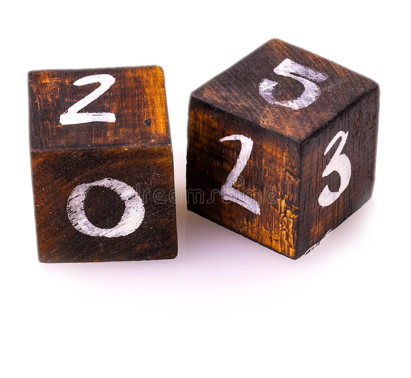 Drewniani bloki z liczbami na bielu fotografia stock