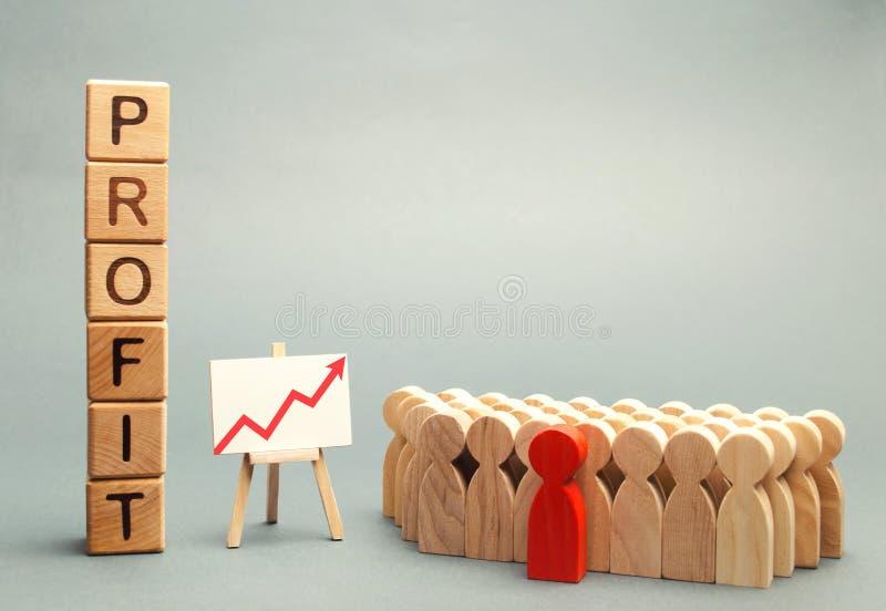 Drewniani bloki z słowem zyskują blisko drużyny i wykres w górę stojaków Pojęcie biznesowy sukces, pieniężny przyrost i bogactwo, zdjęcie royalty free