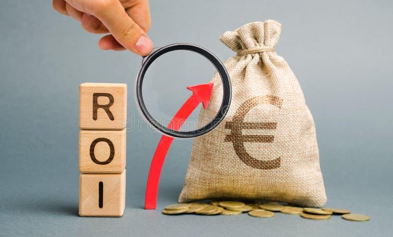 Drewniani bloki z słowem ROI i w górę strzały z pieniądze torbą Wysoki poziom biznesowa dochodowość Wskaźnik rentowności, obrazy stock