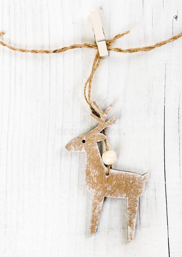 Drewniani boże narodzenia jeleni zdjęcie stock