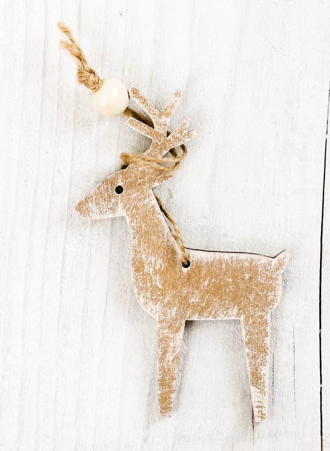 Drewniani boże narodzenia jeleni obrazy royalty free