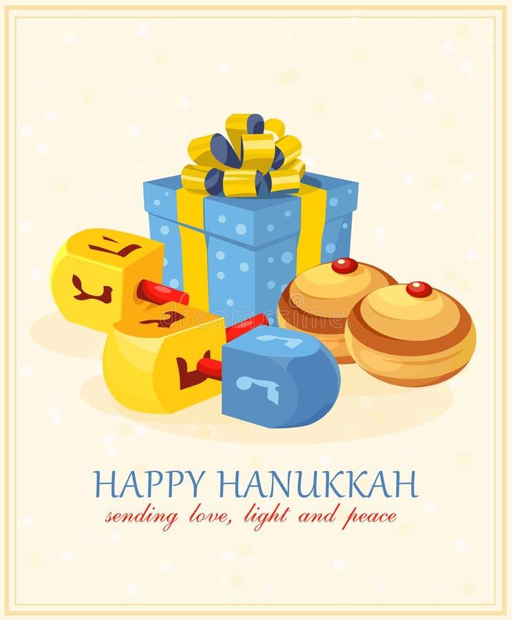 Drewniani dreidels dla Hanukkah żydowskiego wakacje (przędzalniany wierzchołek) również zwrócić corel ilustracji wektora