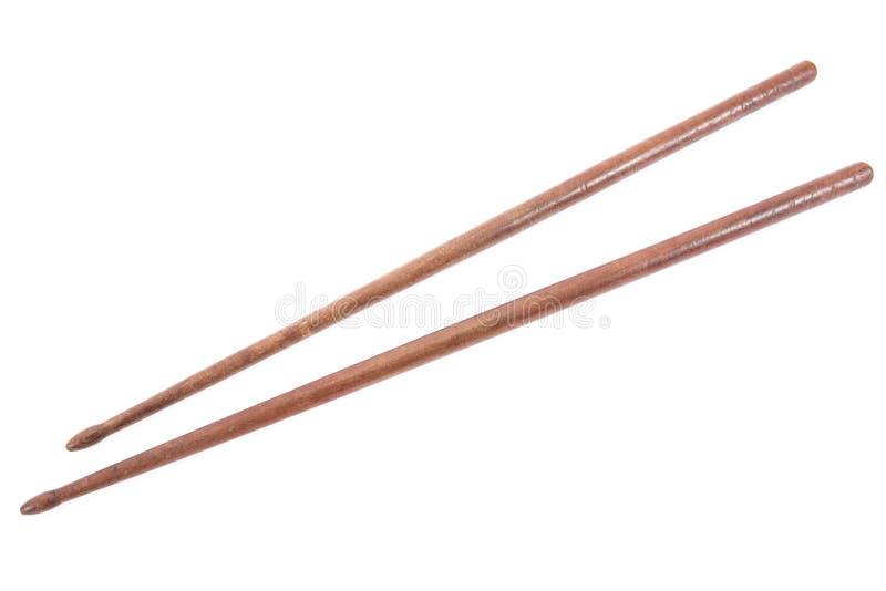 Drewniani drumsticks odizolowywaj?cy na bia?ym tle fotografia stock