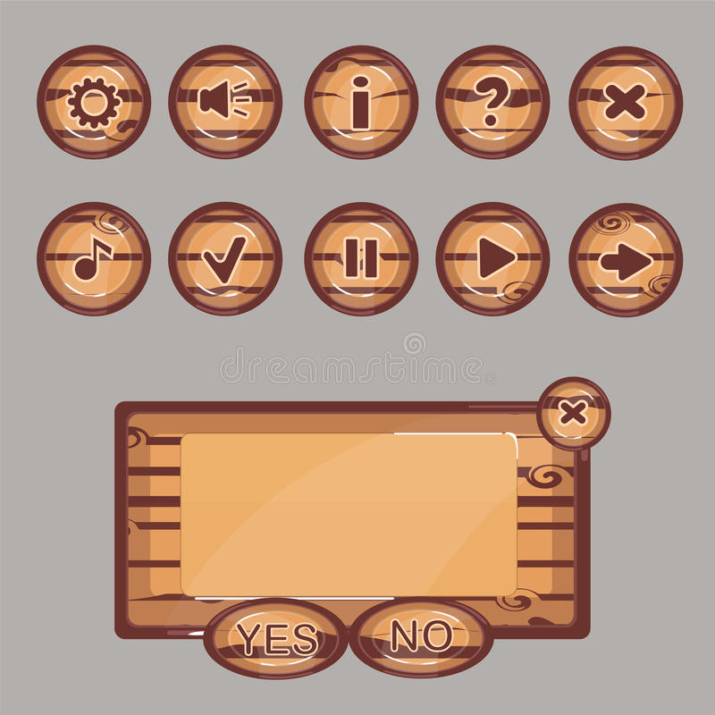 Drewniani guziki dla gemowego interfejsu ilustracja wektor