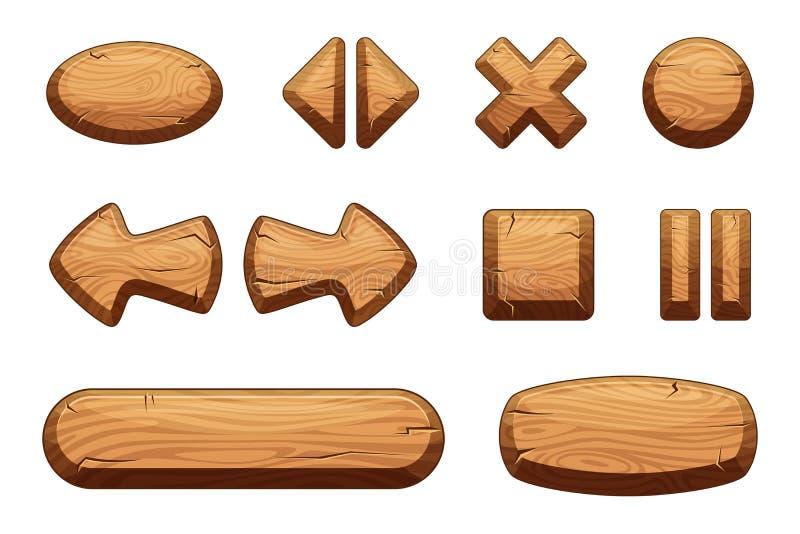 Drewniani guziki ustawiający dla gemowego ui Wektorowe kreskówek ilustracje ilustracja wektor