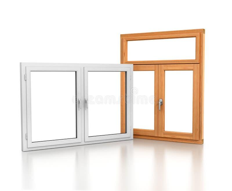 Drewniani i plastikowi okno ilustracji