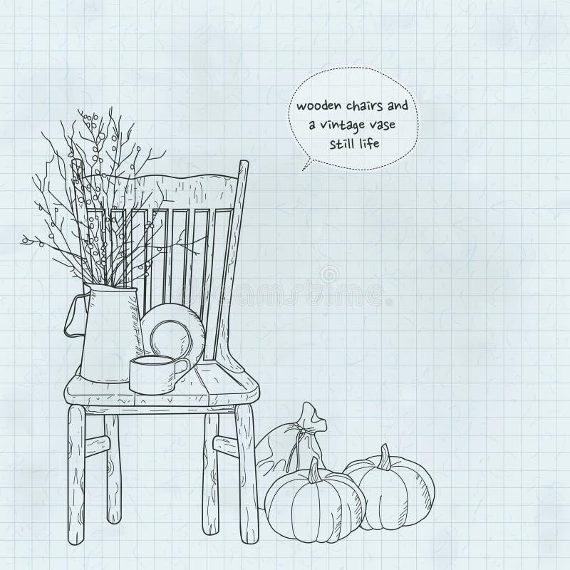 Drewniani krzesła i rocznik wazy wciąż życie ilustracja wektor