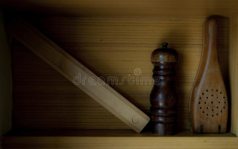 Drewniani kuchenni materiały obraz royalty free
