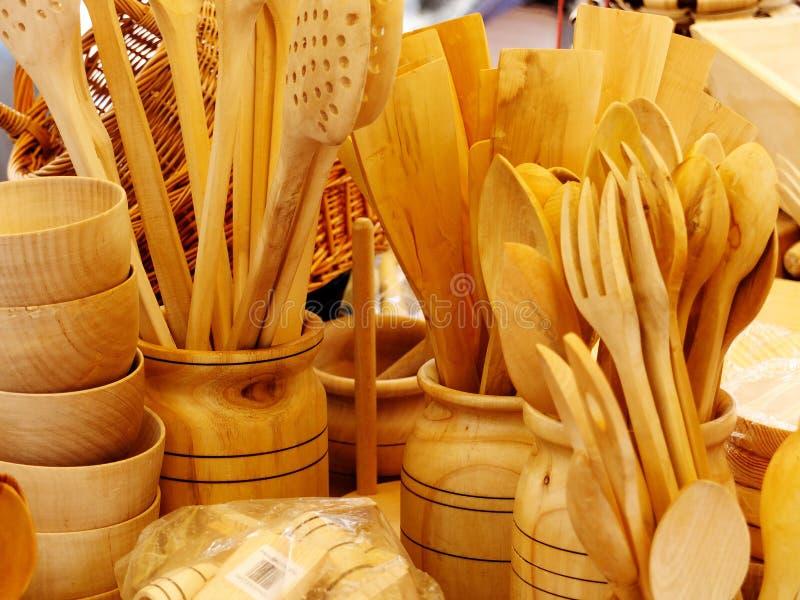 Drewniani kuchenni naczynia fotografia stock