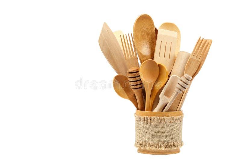 Drewniani kuchenni naczynia odizolowywający na białym tle zdjęcia royalty free