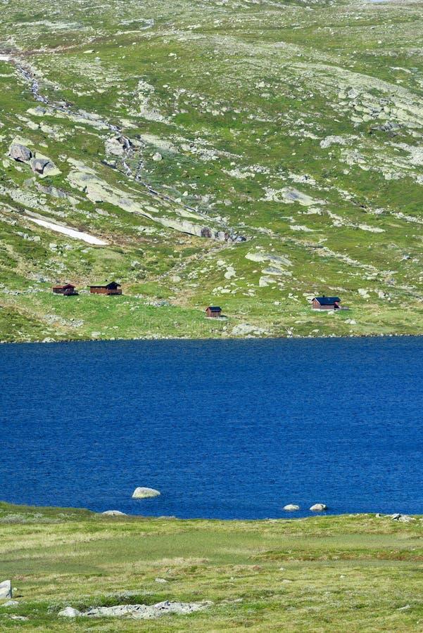 Drewniani lato domy przy Norwegia zdjęcie royalty free