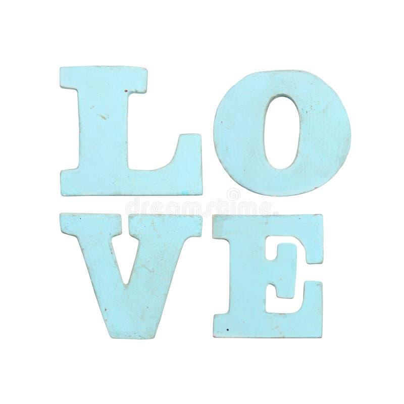 Drewniani listy tworzy słowo miłości odizolowywającej na białym tle zdjęcie stock
