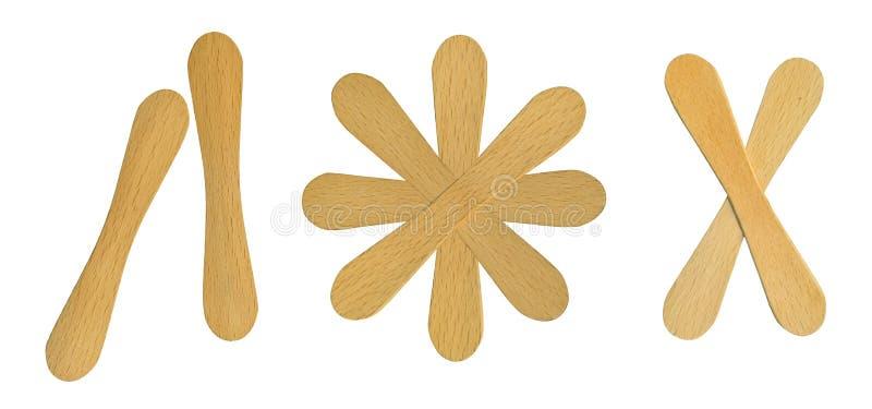 Drewniani lody lolly kije odizolowywający na białym tle zdjęcia stock