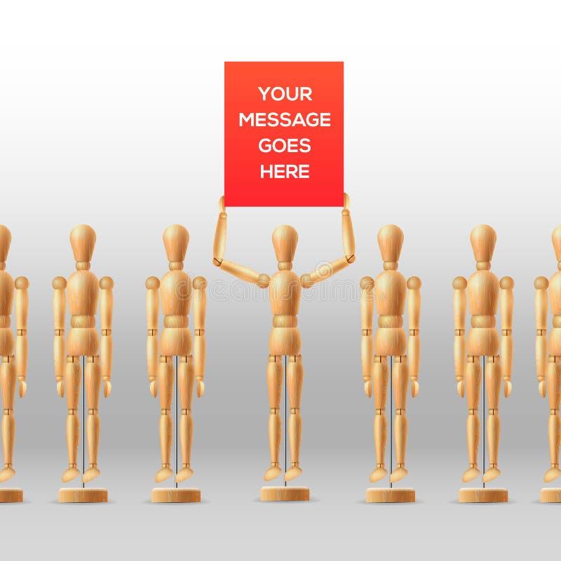 Drewniani mannequins ludzie przy spotkaniem z ilustracji