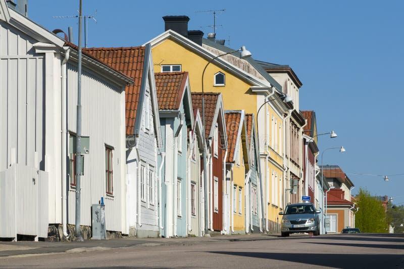 Drewniani mieszkaniowi domy Nykoping fotografia royalty free