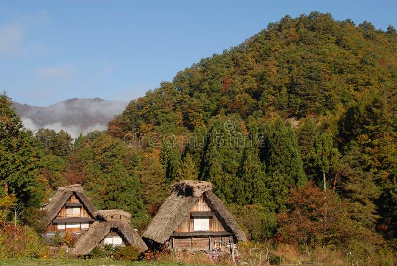 Drewniani pokrywający strzechą domy wiejscy obraz stock