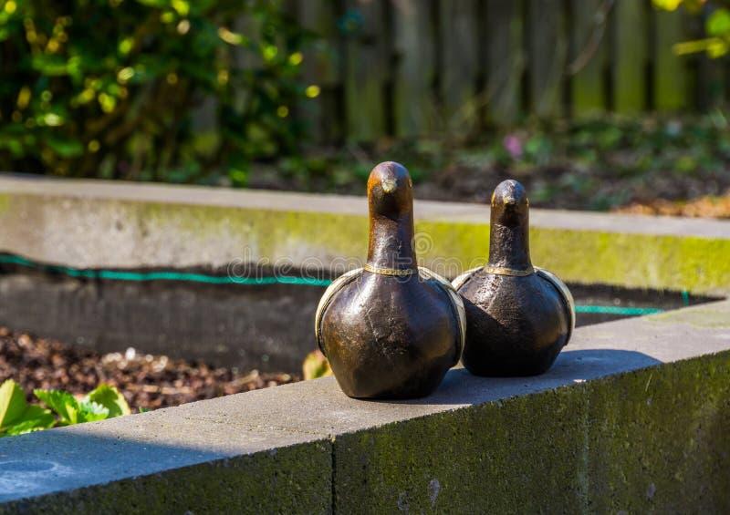 Drewniani ptasi posążki, nowożytne ogrodowe dekoracje, imitacja nurkują dekorować podwórko zdjęcia royalty free