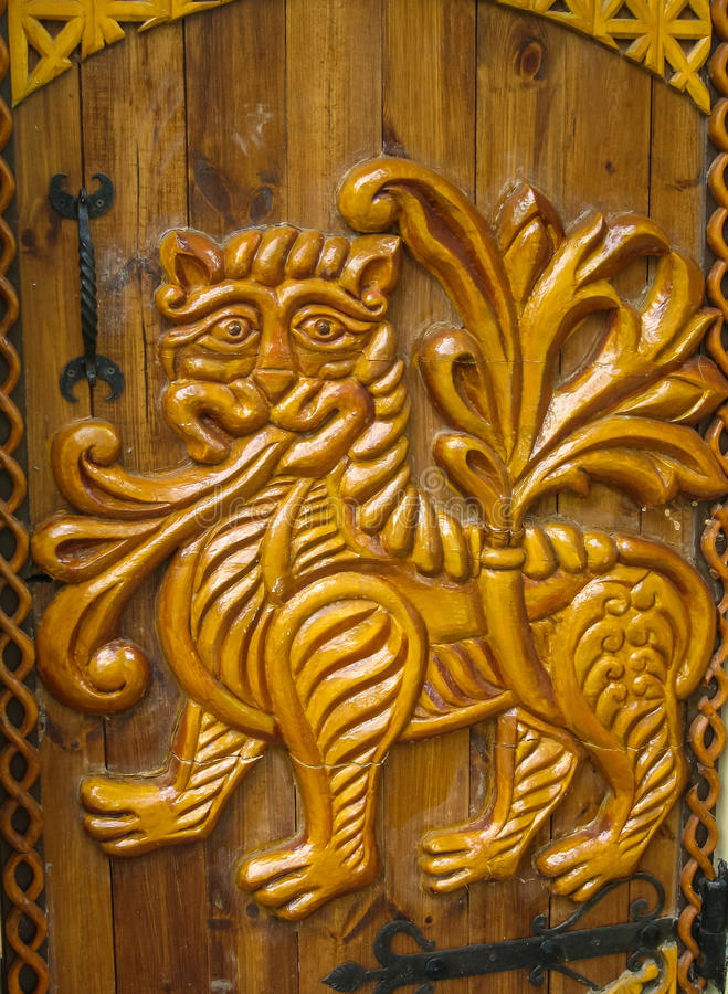 Drewniani rzeźbiący architektoniczni szczegóły w Suzdal, Vladimir region, obraz royalty free