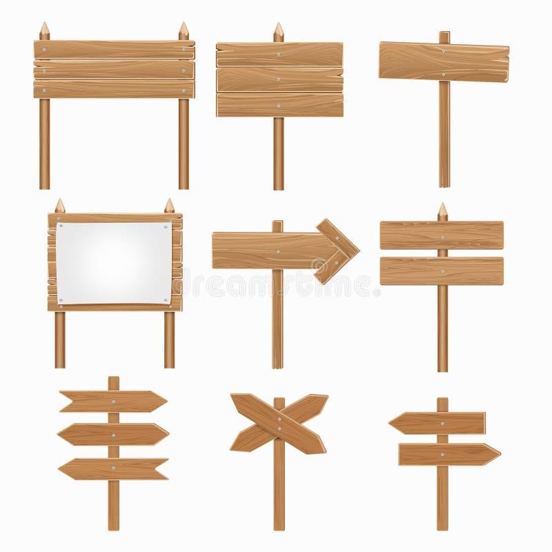 Drewniani signboards, drewniany strzała znaka wektoru set ilustracji