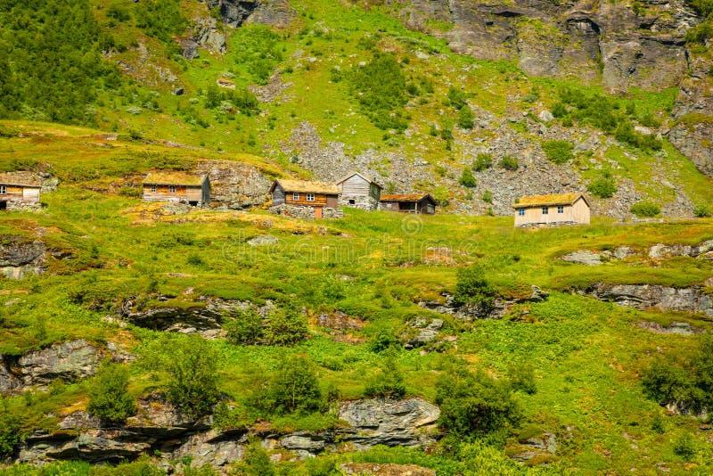 Drewniani starzy domy w górzystym regionie są rosnący halny Dalsnibba, Norwegia obraz stock