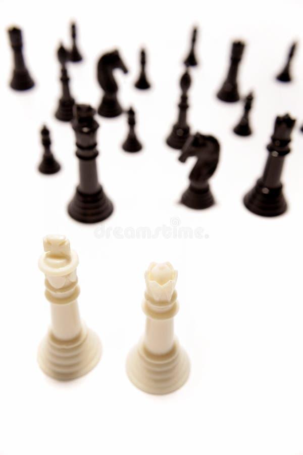 drewniani szachowi kawałki fotografia stock