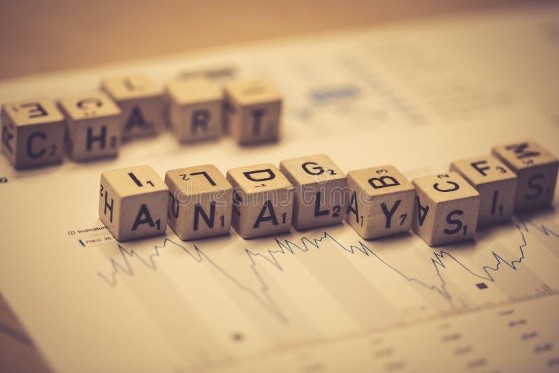 Drewniani sześciany pokazuje słowa sporządzają mapę analizę na biznesowej miejsce pracy zdjęcia stock