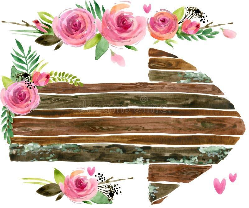 Drewniani sztandary z róża kwiatem Wzrastał kwiat akwarelę Ślubny dekoracyjny element Drewniany panelu set royalty ilustracja