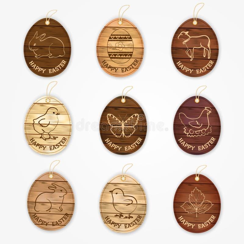 Drewniani wektorowi szczęśliwi Easter jajka przylepiają etykietkę kolekcję z wschodnimi symbolami - królik, karmazynka, kurczak,  royalty ilustracja