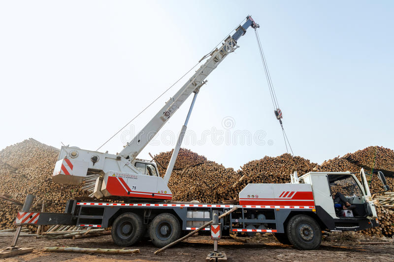 Drewniani zakłady przetwórczy w żurawiu obraz stock