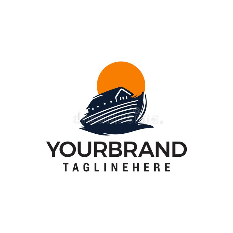 Drewniany łódkowaty logo, Tajlandzki łódkowaty projekta pojęcia szablon ilustracja wektor