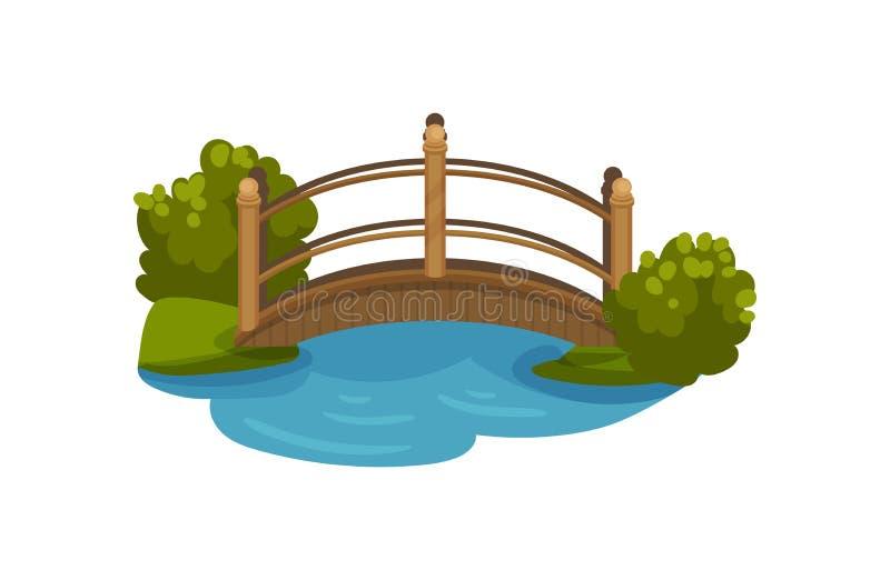Drewniany łuku most z poręczami Footbridge nad małym stawem Zieleni krzaki i trawa Płaski wektorowy element dla mapy ilustracji