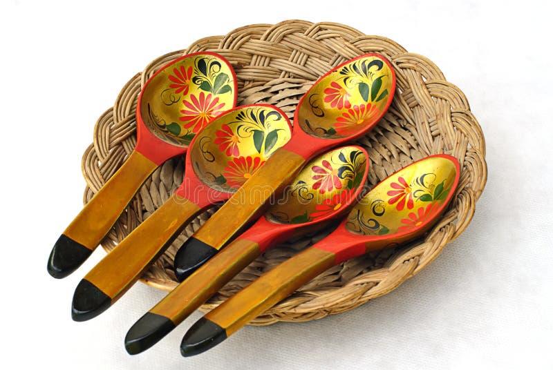 drewniany łyżkowy tableware zdjęcie royalty free