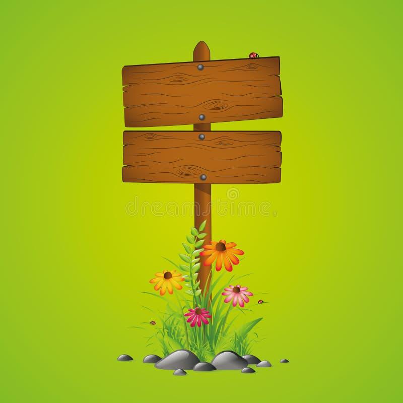 Drewniany śpiewa wiosna sezonu zieleni tło royalty ilustracja